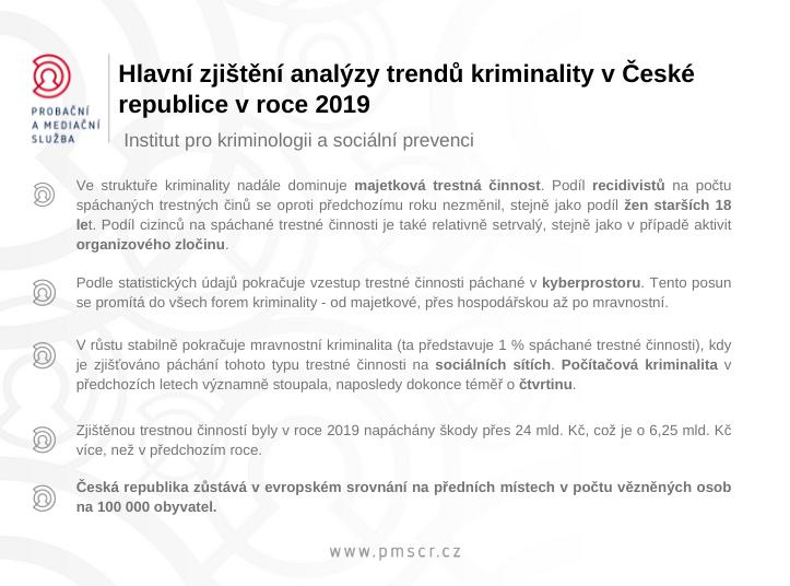 Hlavní zjištění analýzy trendů kriminality v České republice v roce 2019