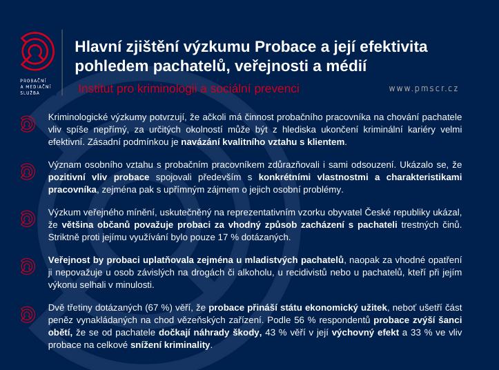 Hlavní zjištění výzkumu Probace a její efektivita pohledem pachatelů, veřejnosti a médií